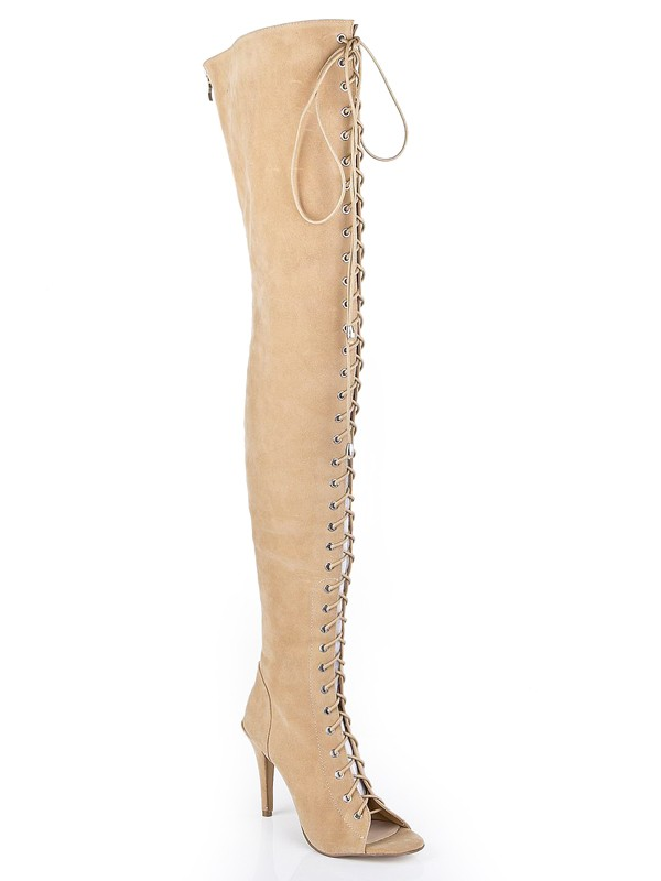 Mulheres Suede Salto Stiletto Peep Toe com Renda-up Over The Knee Champagne Botas Femininas
